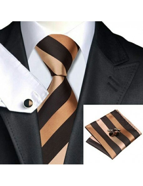Men's Woven Twill Tie with Hanky & Cufflinks