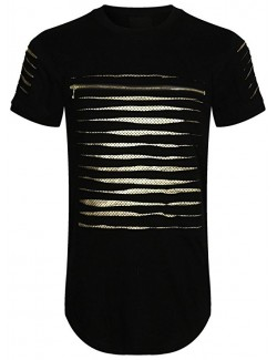 Short Sleeve Cut Out Zipper T-Shirt