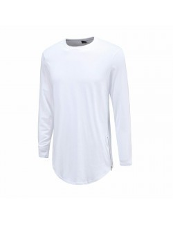 Cuved Long Sleeve Low Side Zipper T-Shirt