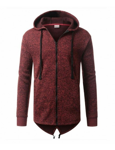 Fish Tail Long Length Zip Up Hoodie